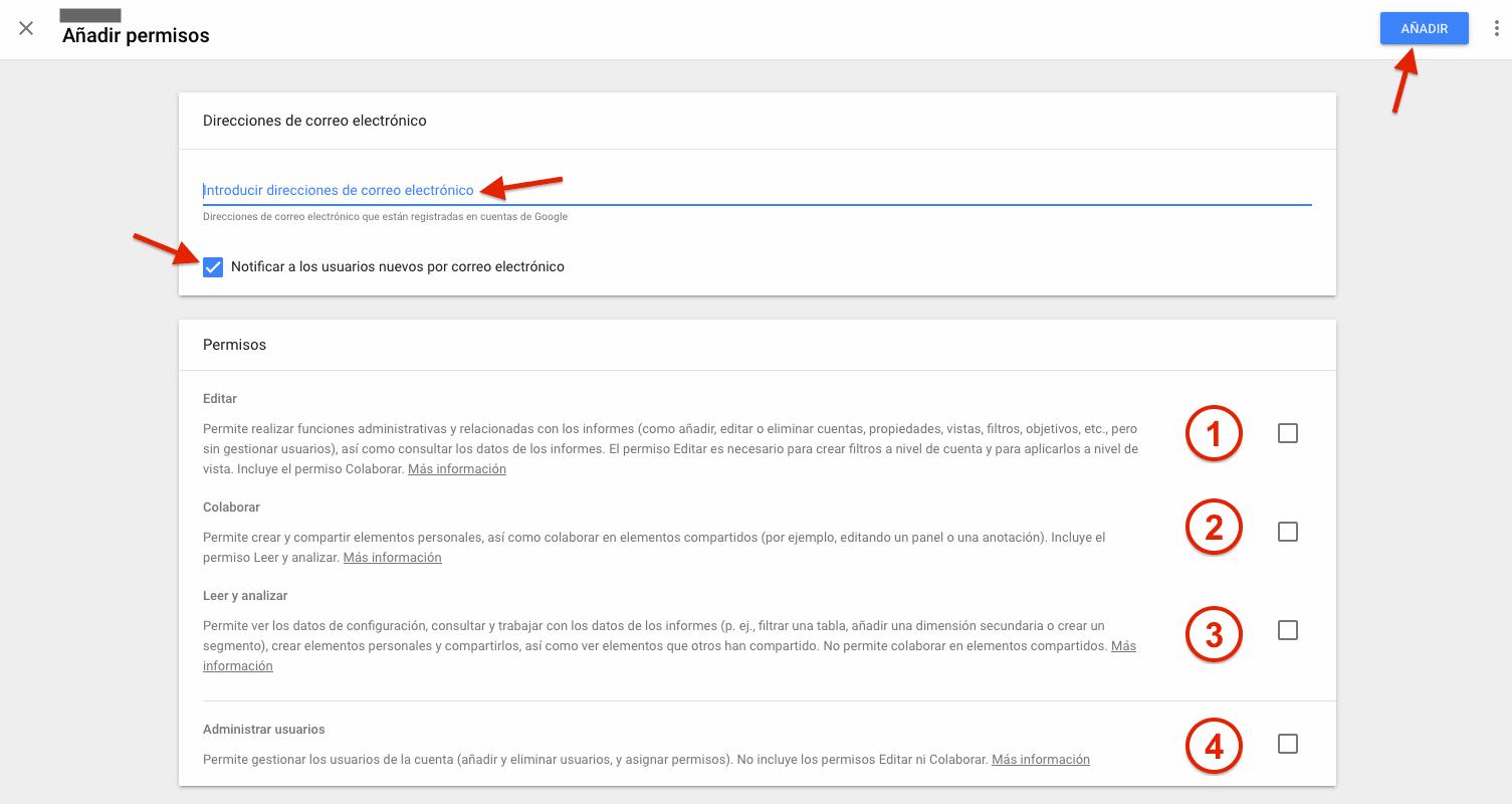 Google Analytics - Formulario alta de cuenta