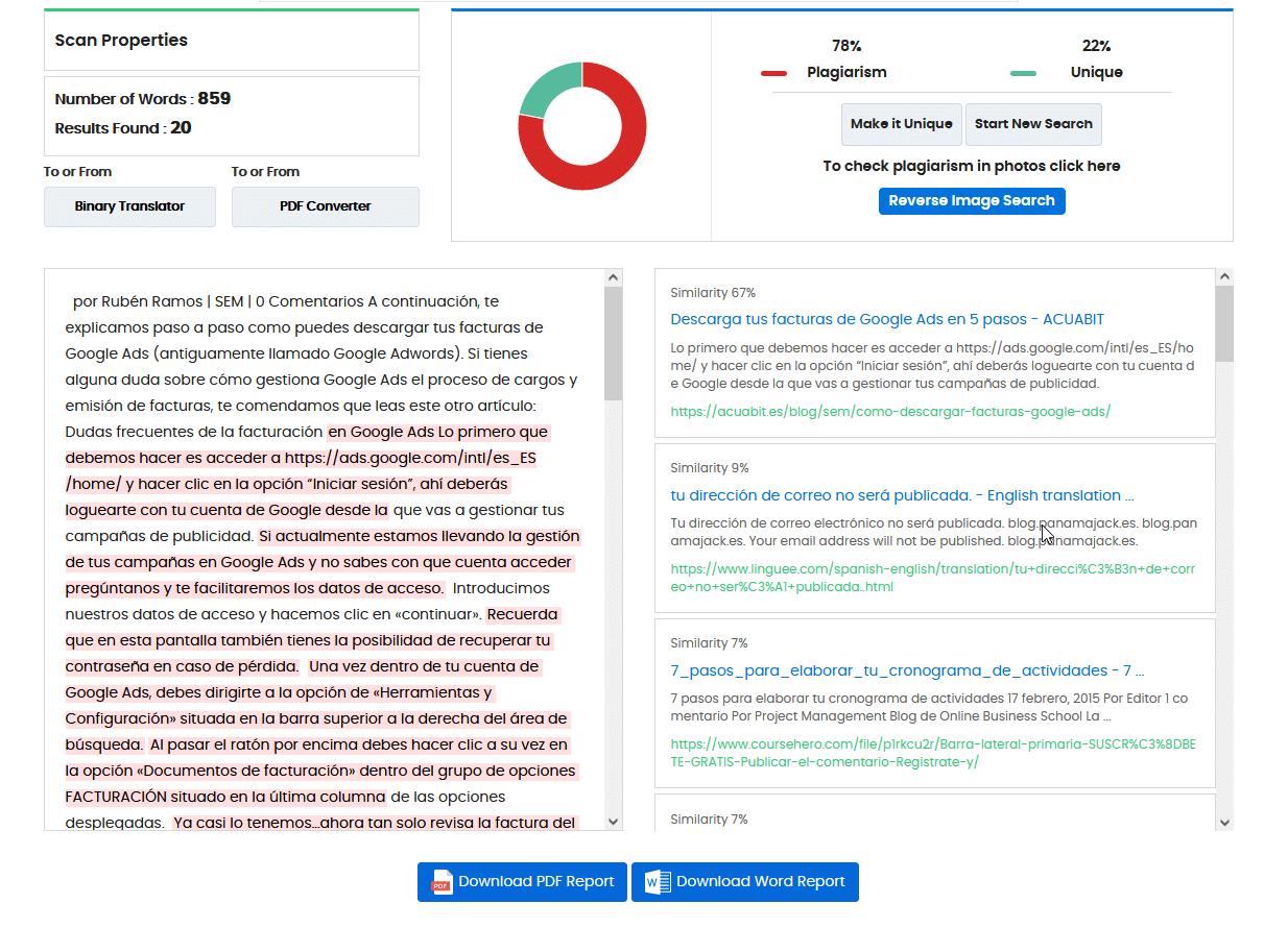 Duplichecker ejemplo analisis